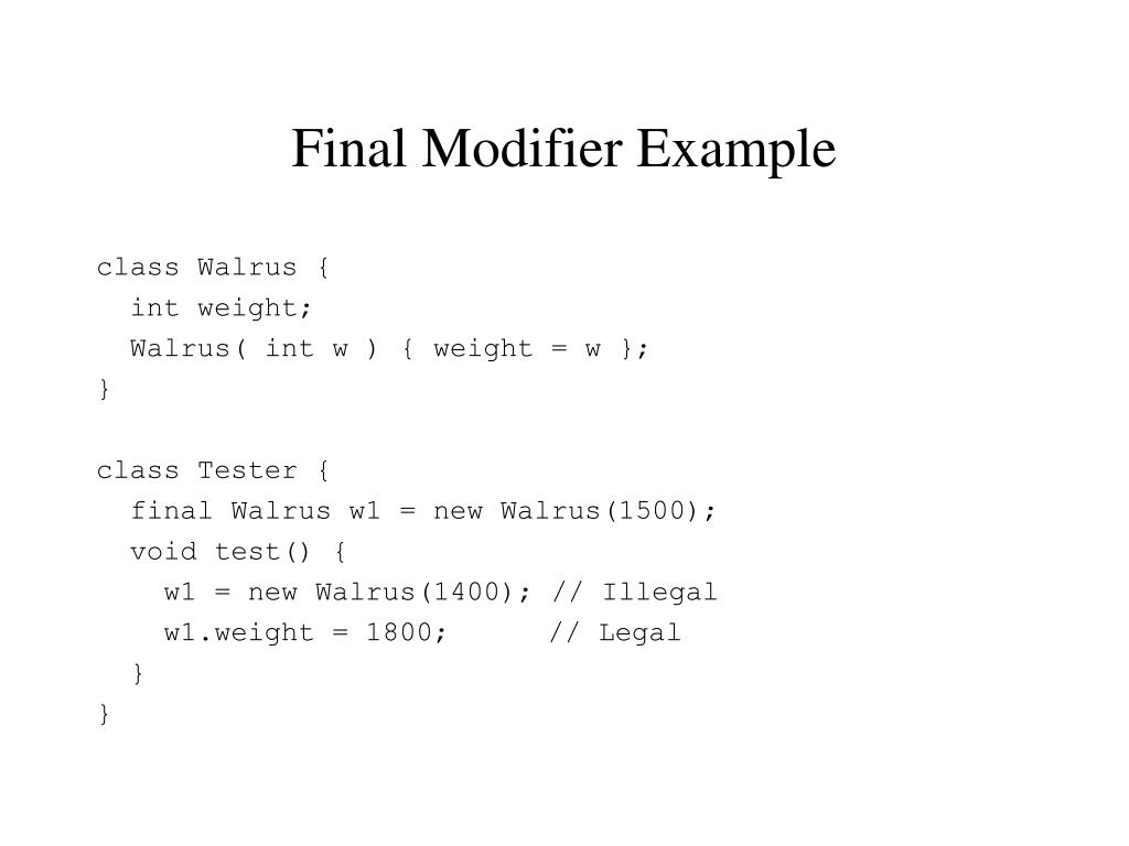 Final Modifier Example