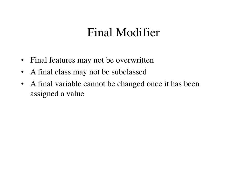 Final Modifier