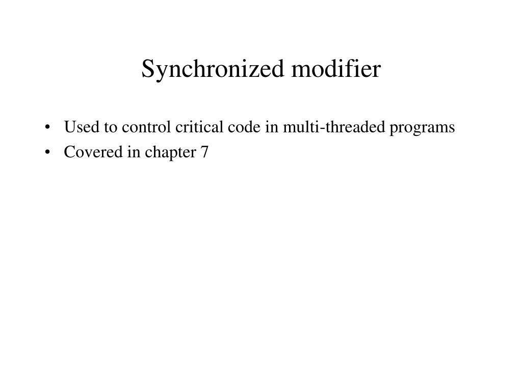 Synchronized modifier