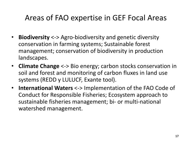 Areas of FAO expertise in GEF Focal Areas