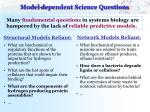 model dependent science questions