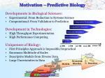 motivation predictive biology