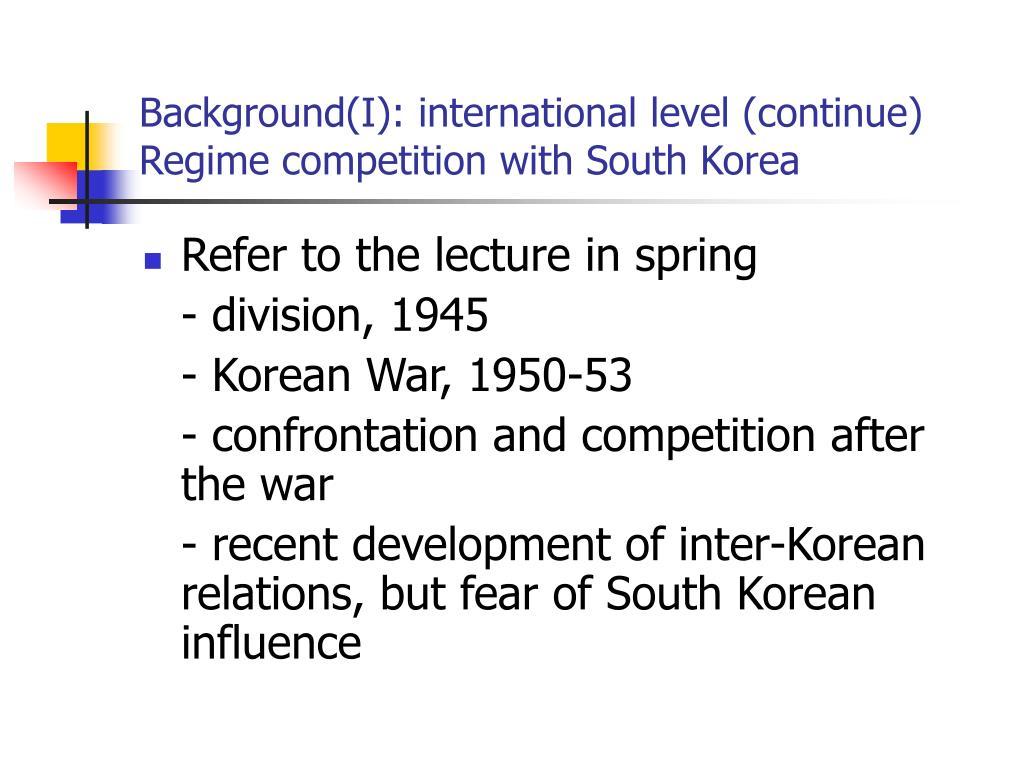 Background(I): international level (continue)