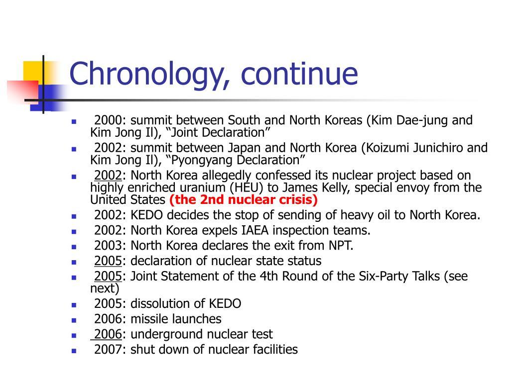 Chronology, continue