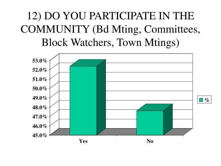 12) DO YOU PARTICIPATE IN THE COMMUNITY (Bd Mting, Committees, Block Watchers, Town Mtings)