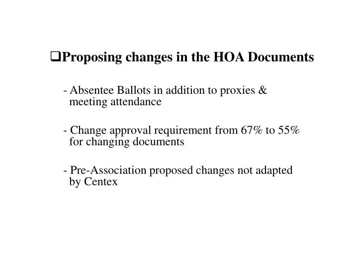 Proposing changes in the HOA Documents