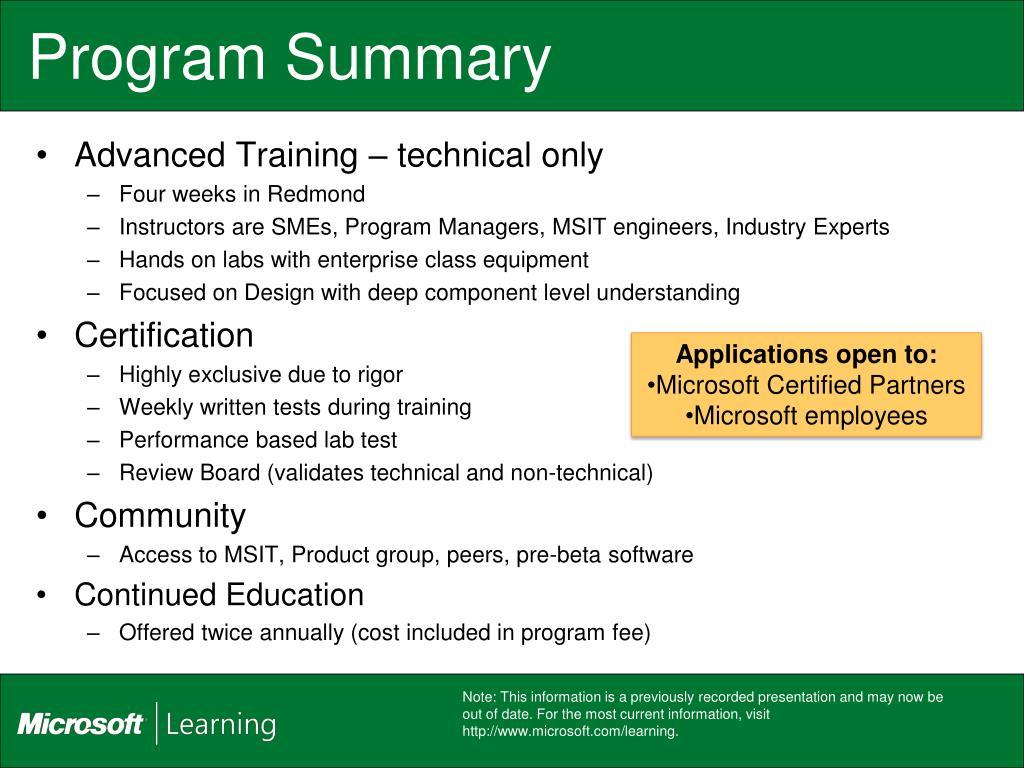 Program Summary