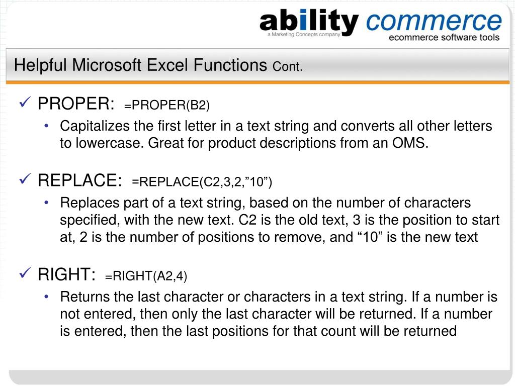 Helpful Microsoft Excel Functions