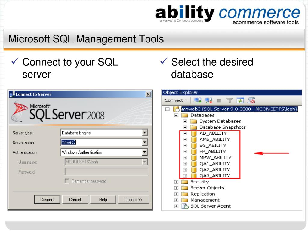Microsoft SQL Management Tools
