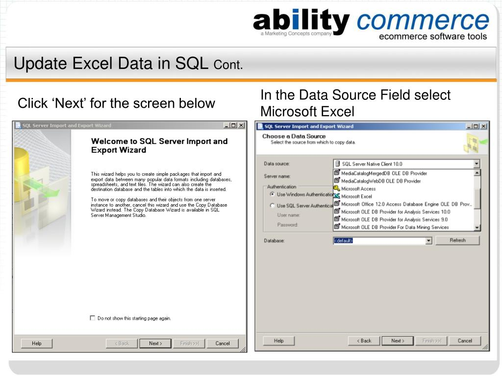 Update Excel Data in SQL