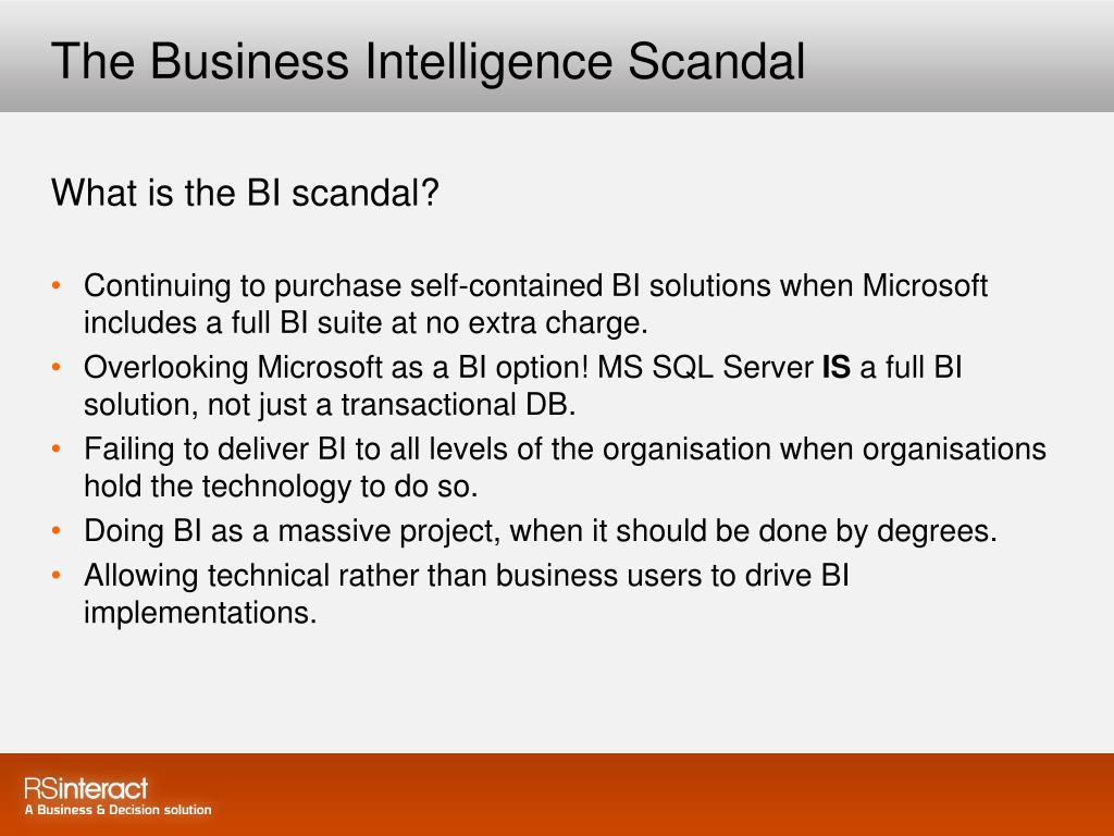 The Business Intelligence Scandal