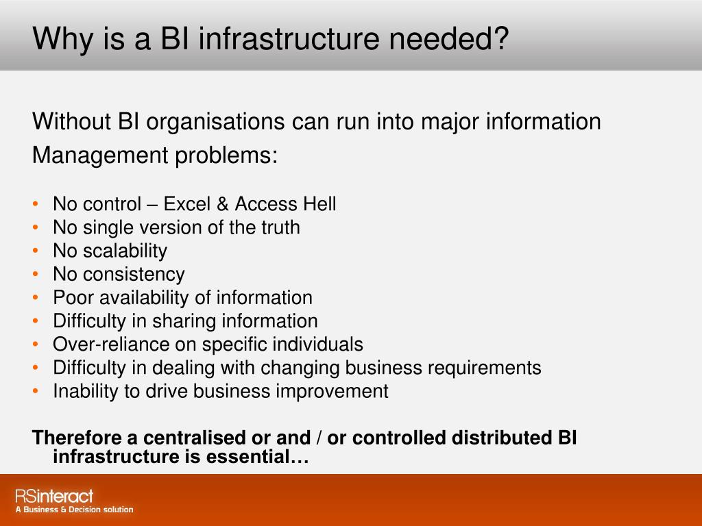 Why is a BI infrastructure needed?