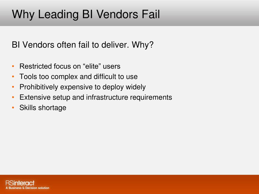 Why Leading BI Vendors Fail