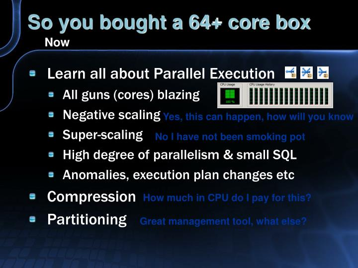 So you bought a 64 core box