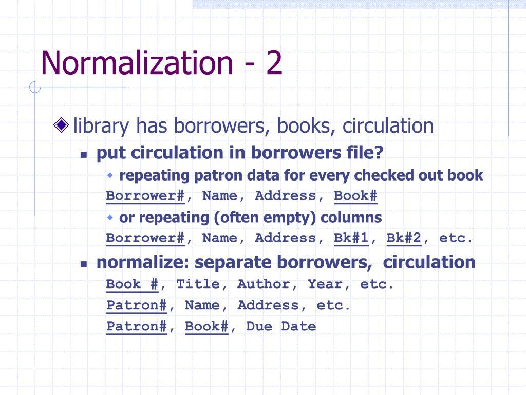 Normalization - 2