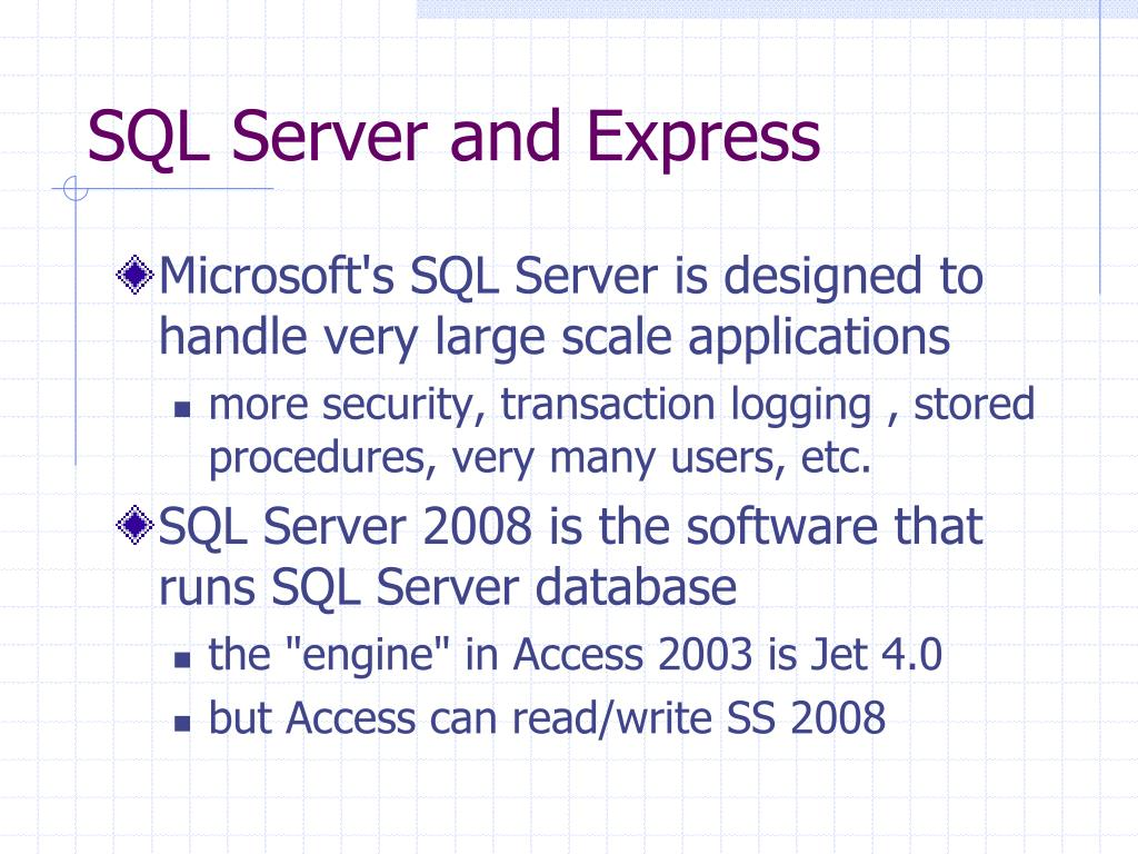 SQL Server and Express
