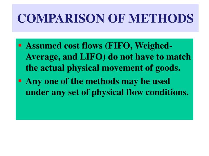 COMPARISON OF METHODS