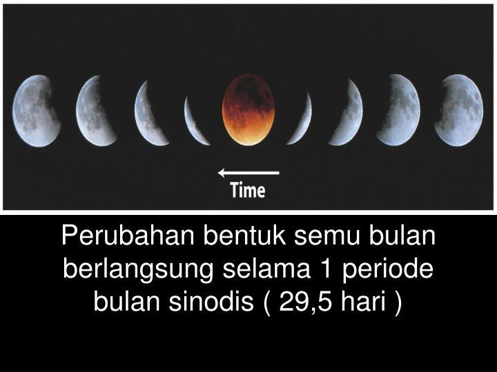 Perubahan bentuk semu bulan berlangsung selama 1 periode bulan sinodis ( 29,5 hari )