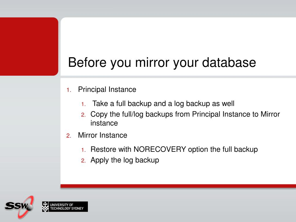Before you mirror your database