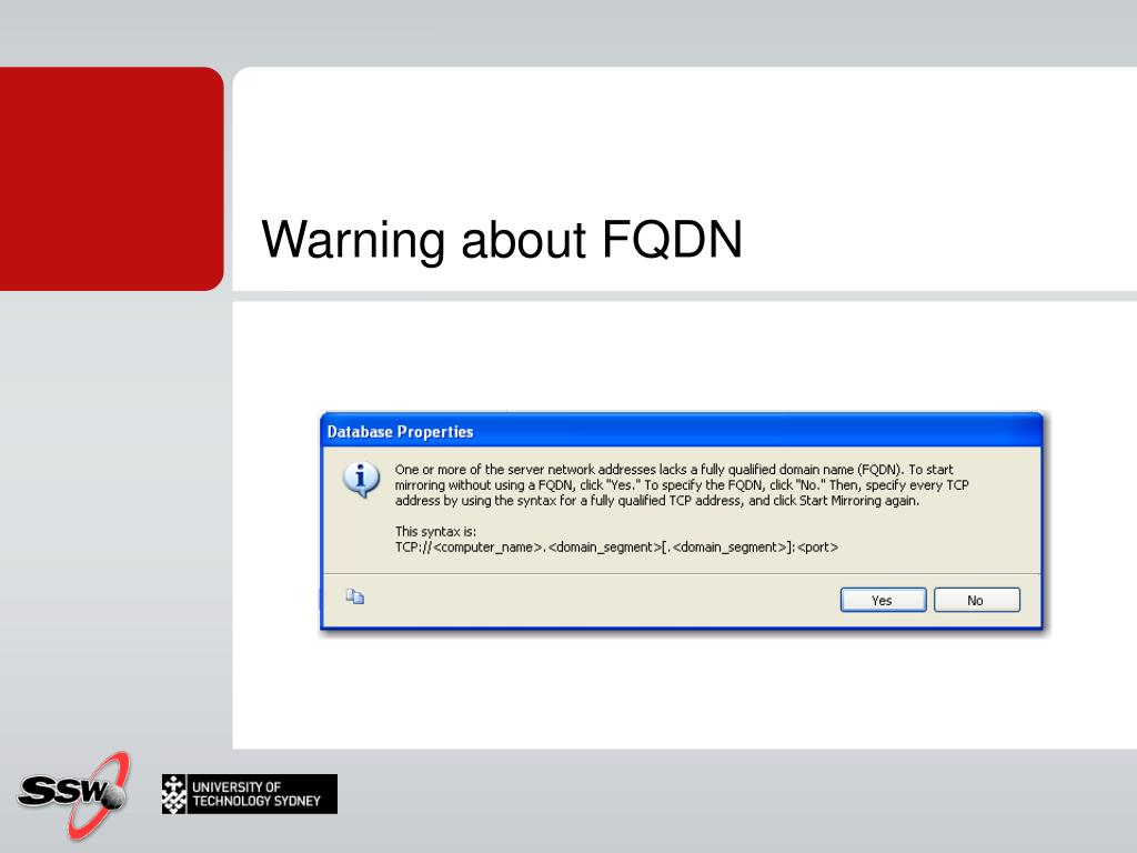 Warning about FQDN