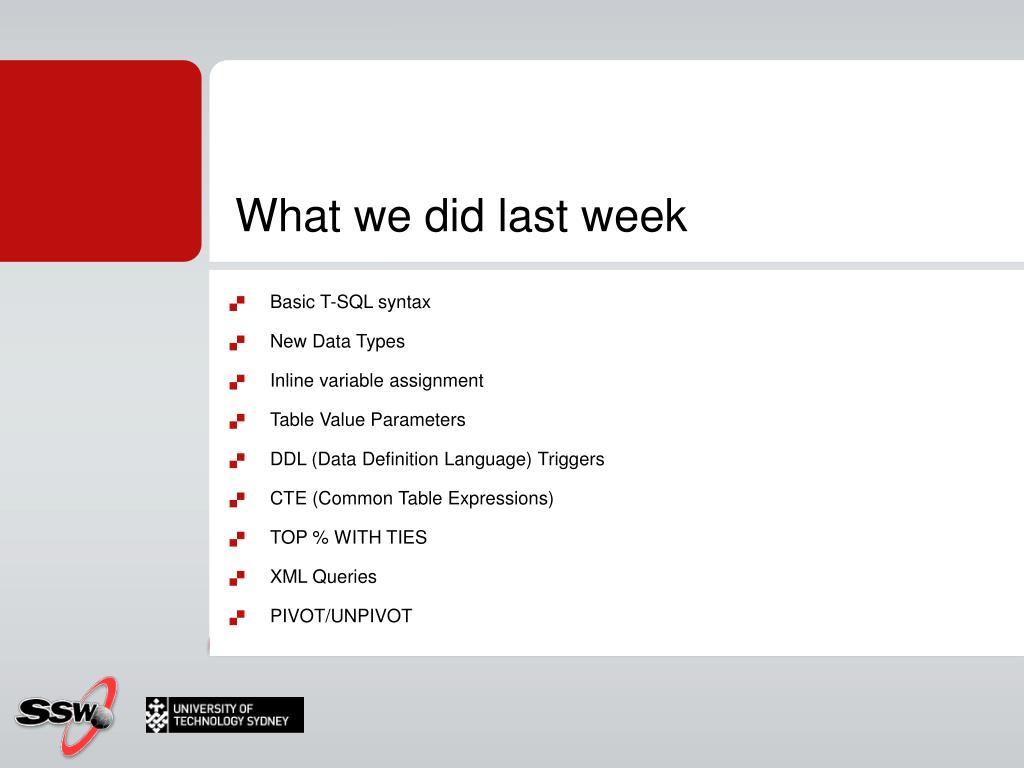 What we did last week