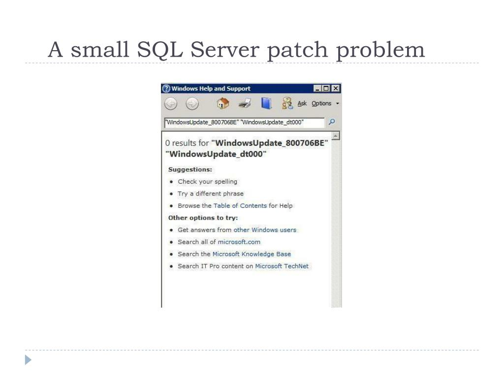 A small SQL Server patch problem
