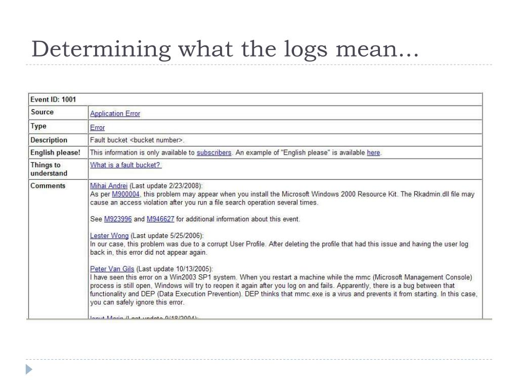 Determining what the logs mean...