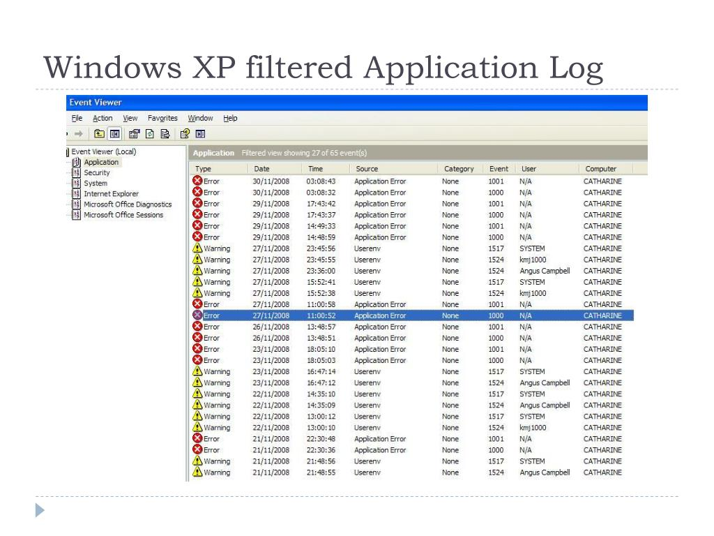 Windows XP filtered Application Log