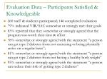 evaluation data participants satisfied knowledgeable