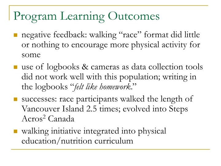 Program Learning Outcomes