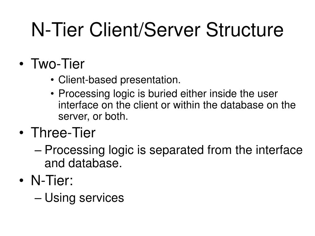 N-Tier Client/Server Structure
