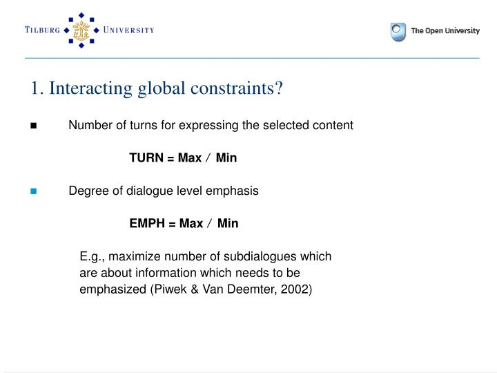 1. Interacting global constraints?
