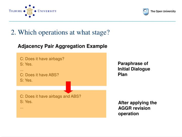 2. Which operations at what stage?