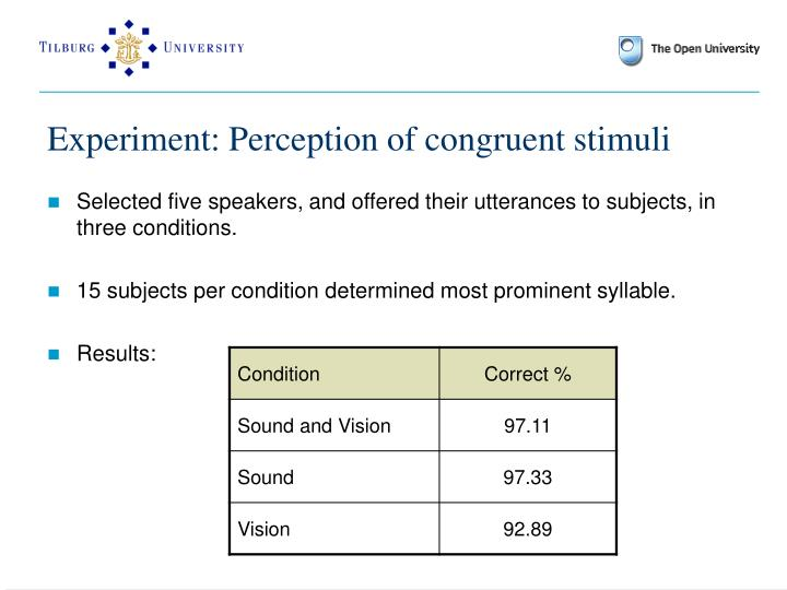 Experiment: Perception of congruent stimuli