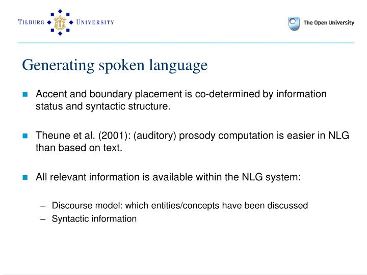 Generating spoken language