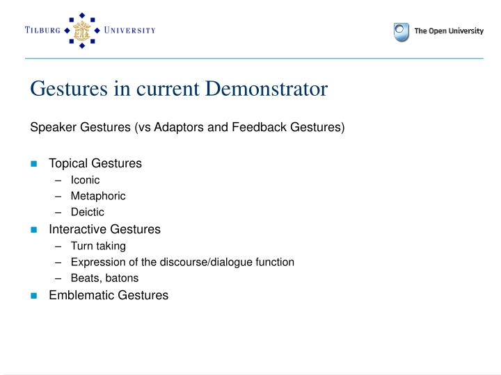 Gestures in current Demonstrator