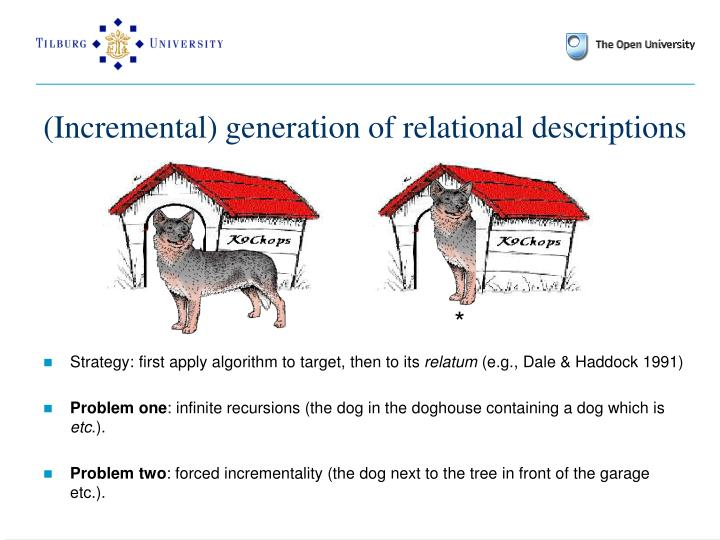 (Incremental) generation of relational descriptions