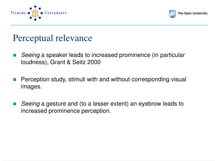 Perceptual relevance