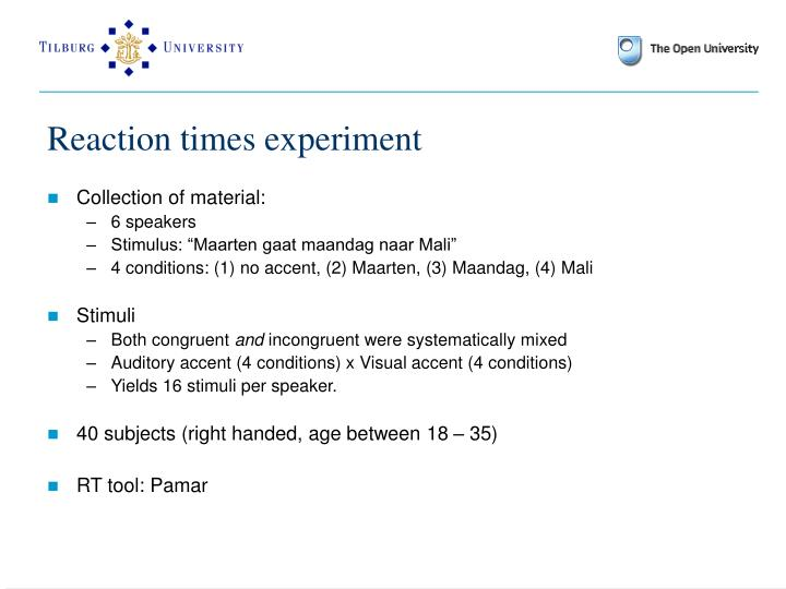 Reaction times experiment
