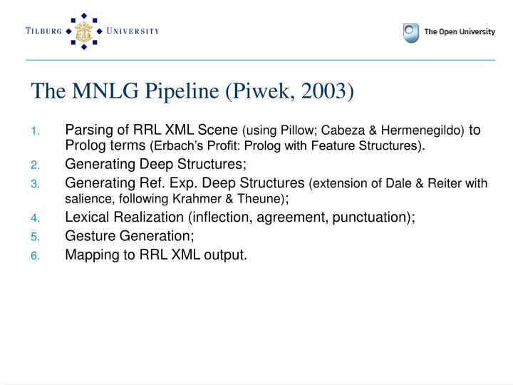 The MNLG Pipeline (Piwek, 2003)