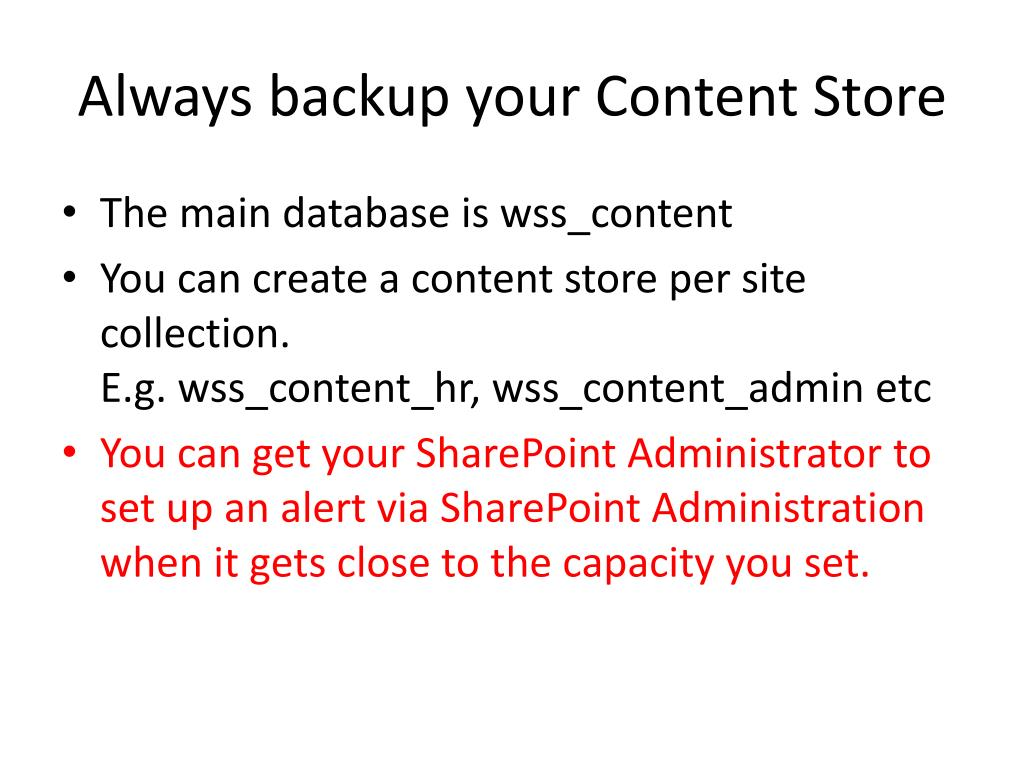 Always backup your Content Store