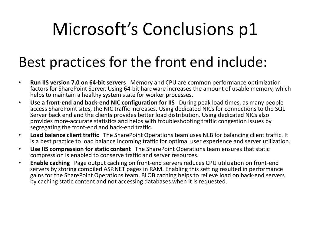 Microsoft's Conclusions p1