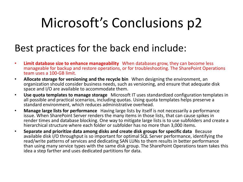 Microsoft's Conclusions p2