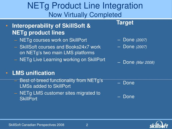 Netg product line integration now virtually completed