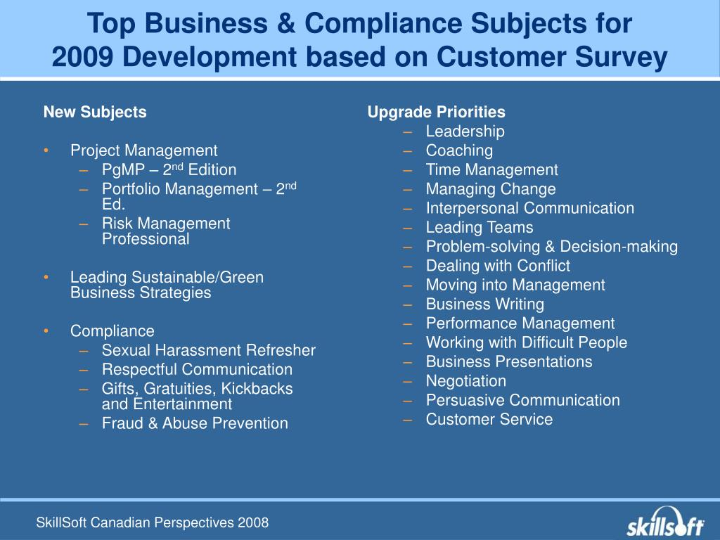 Top Business & Compliance Subjects for
