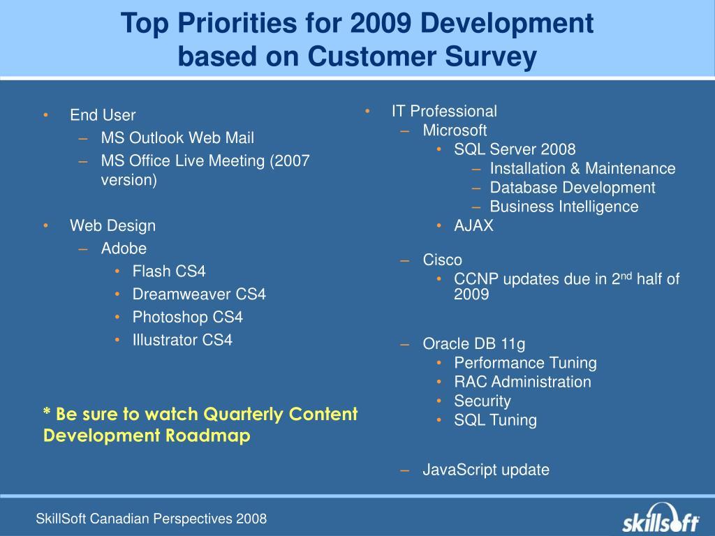 Top Priorities for 2009 Development