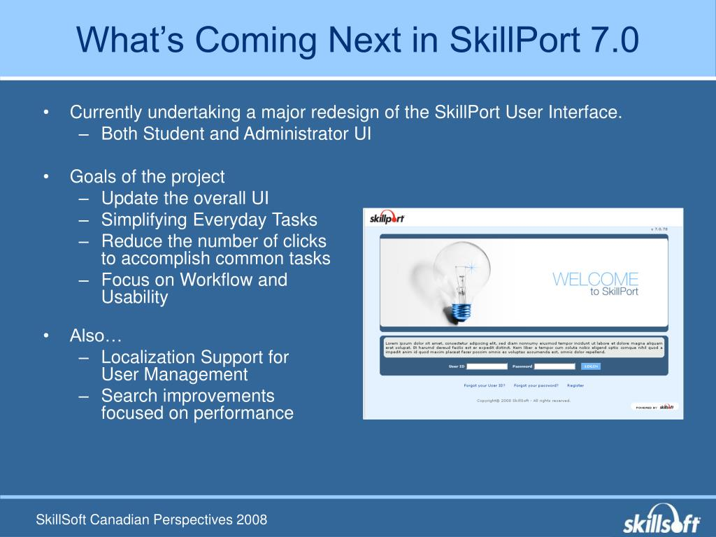 What's Coming Next in SkillPort 7.0