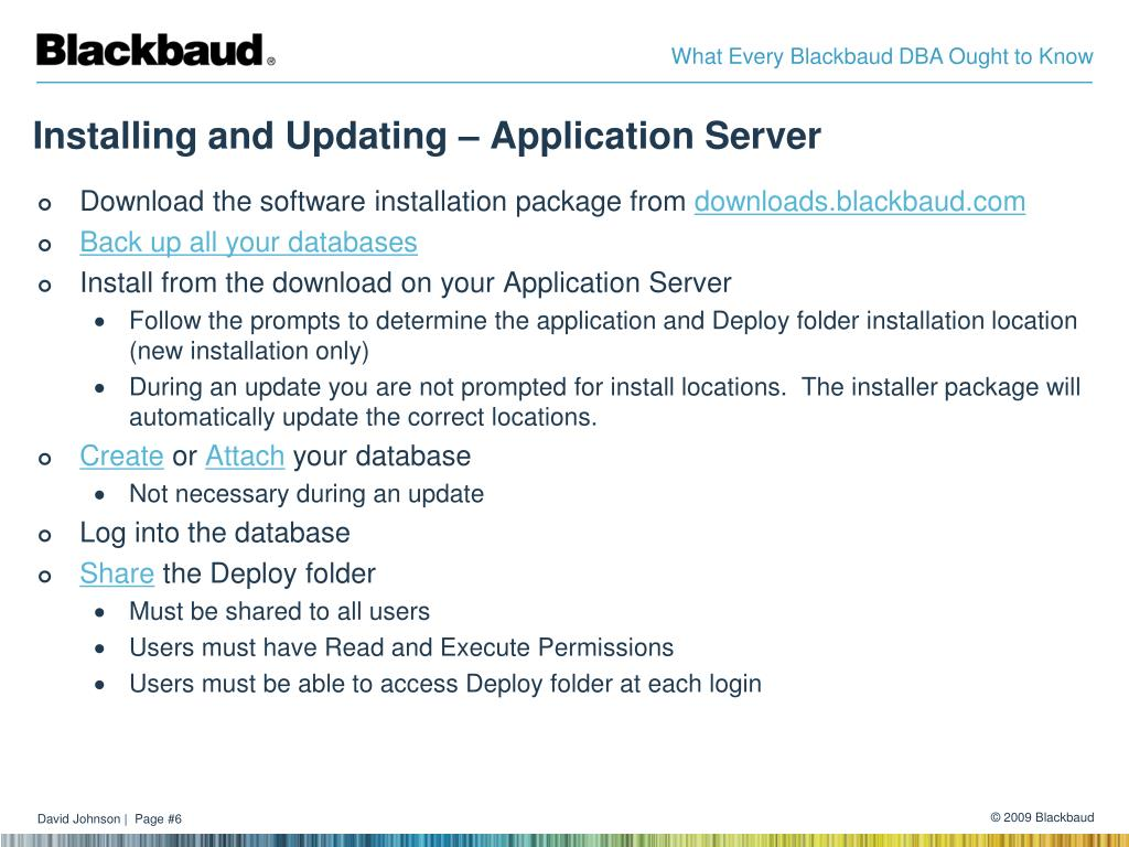 Installing and Updating – Application Server