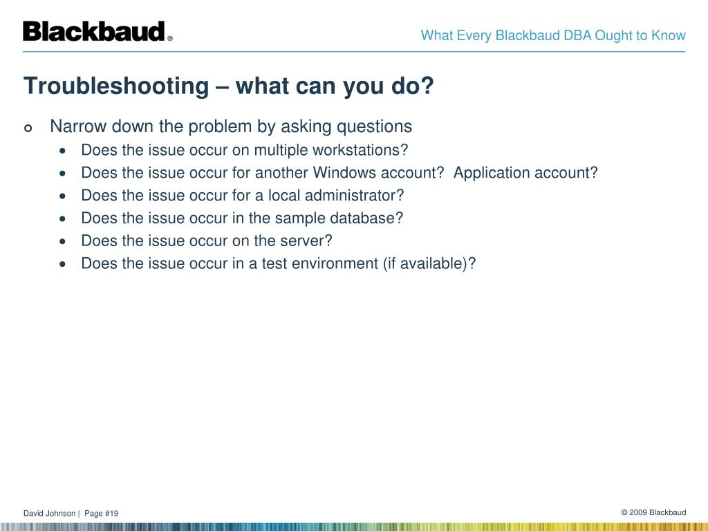 Troubleshooting – what can you do?