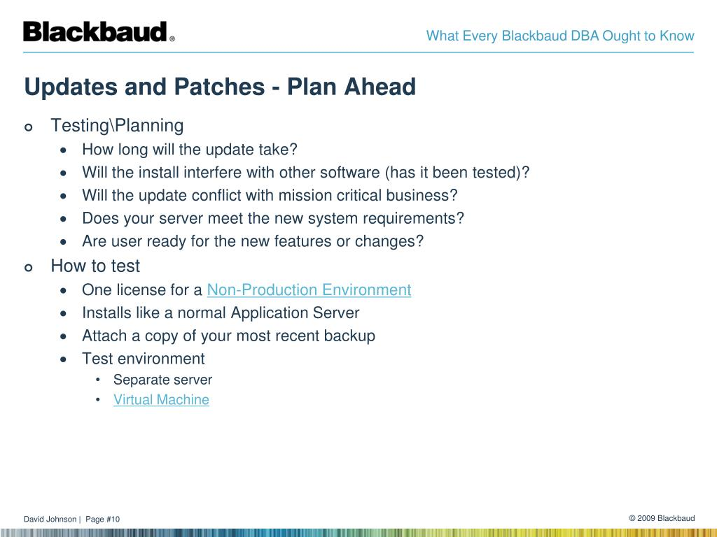 Updates and Patches - Plan Ahead